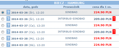 Bilety Sindbad Biecz Hamburg