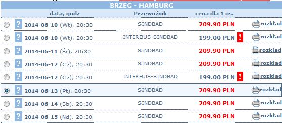bilety autokarowe Interbus z brzegu do hamburga