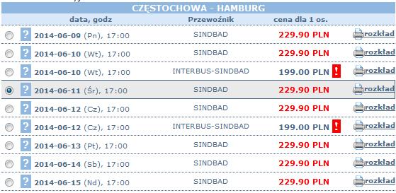 bilety sindbad częstochowa - hamburg